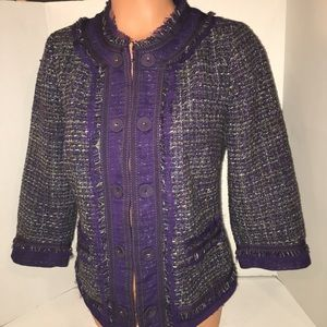Chico's dark Purple Tweed Blazer Jacket Top 0